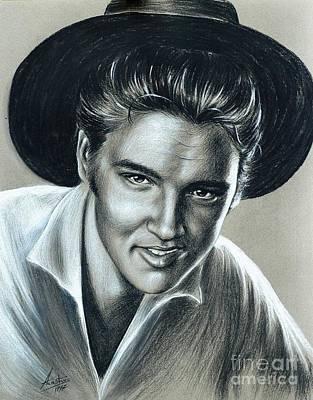 Elvis Presley In Black N White Original