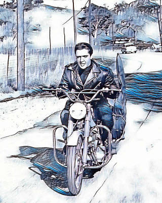 Tennessee Drawing - Elvis Presley In Blues And Greys by Pd