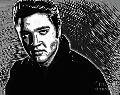 Drawing - Elvis Presley In Pen And Ink - Doc Braham - All Rights Reserve by Doc Braham