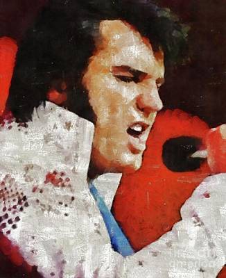 Music Paintings - Elvis Presley, Legend  in Concert by Esoterica Art Agency