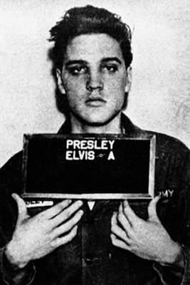 Pop Art Royalty-Free and Rights-Managed Images - Elvis Presley Mug Shot Vertical 1 by Tony Rubino