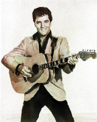 Music Paintings - Elvis Presley, Music Legend by Mary Bassett by Esoterica Art Agency