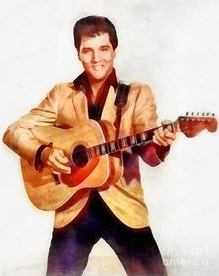 Elvis Presley Painting - Elvis Presley, Music Legend by Frank Falcon