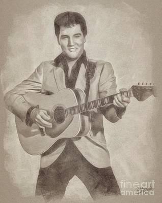 Elvis Presley Pastel - Elvis Presley, Music Legend by John Springfield