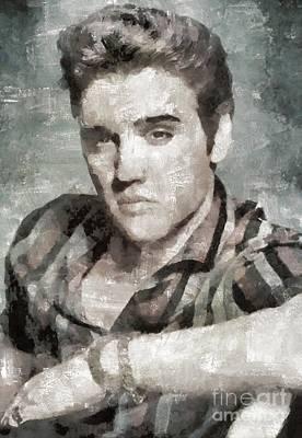 Elvis Presley Painting - Elvis Presley, Music Legend by Mary Bassett