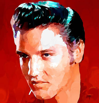 Sightseeing Digital Art - Elvis Presley On Red by Yury Malkov