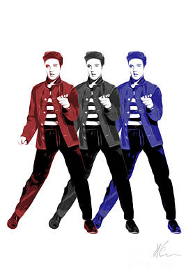 Elvis Digital Art - Elvis Presley - Red, White, Blue - Pop Art by William Cuccio aka WCSmack