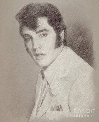 Star Trek Drawing - Elvis Presley, Singer by Frank Falcon