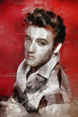 Charlie Chaplin Painting - Elvis Presley, Singer by Mary Bassett
