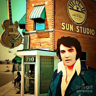 Elvis Presley The King At Sun Studio Memphis Tennessee 20160216 Square Art Print by Wingsdomain Art and Photography