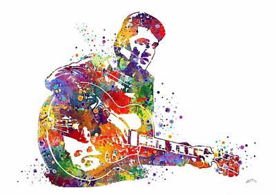 Elvis Presley Digital Art - Elvis Presley Watercolor by Svetla Tancheva