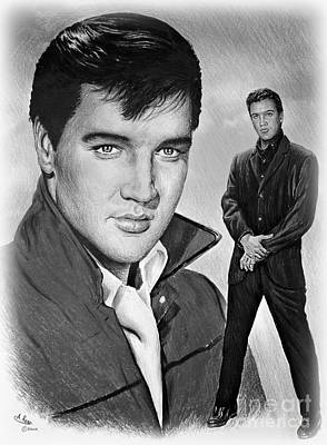 Music Drawings - Elvis Roustabout by Andrew Read