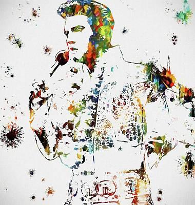 Music Paintings - Elvis Singing Paint Splatter by Dan Sproul