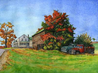 Elwood Farmhouse And Barn, Londonderry, Nh  Original by Elaine Farmer