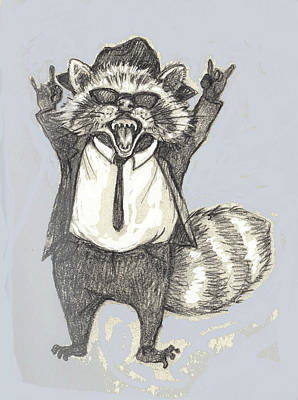 Raccoon Mixed Media - Elwood Raccoon by Peggy Wilson
