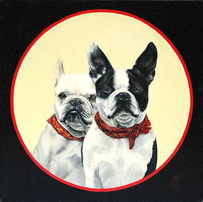French Bull Dog Painting - Em And Gee by Monique Geurts