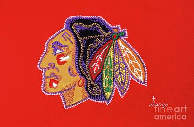 Hockey Fans Painting - Emblem Chicago Blackhawks by Margarita Basalyga