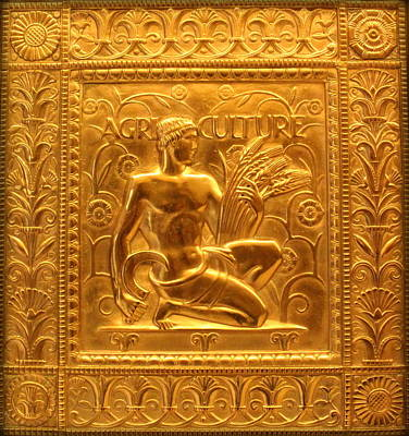 Male Nude Relief Photograph - Embossed Brass Agriculture Panel - Fisher Building by Anita Hiltz