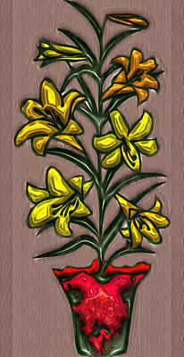 Digital Art - Embossed Flowers by Mario Carini