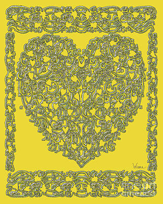Digital Art - Embossed Gold Heart by Lise Winne