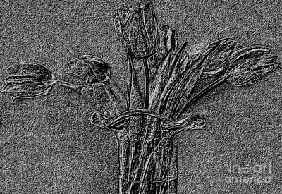 Embossed Tulip Abstract Art Print by Marsha Heiken