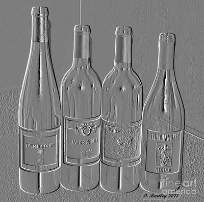 Embossed Wine Bottles Art Print