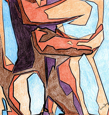 Abstract Shapes Drawing - Embrace by Callan Percy