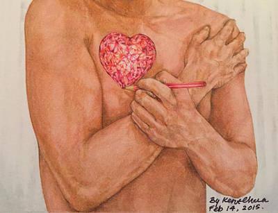 Embrace Love Drawing Print by Kent Chua