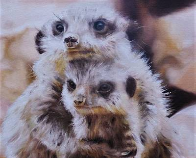 Meerkat Painting - Embraced by Cherise Foster