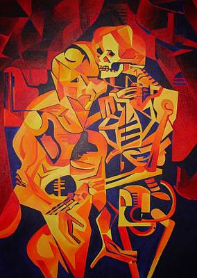 Embracing Death Art Print by Tracey Harrington-Simpson