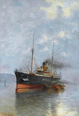 Painting - Embraking The Steamship by Vasilios Chatzis