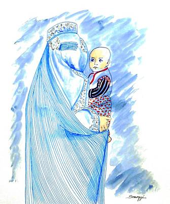 Embroidered Blue Lady-cage -- Woman In Burka Art Print