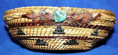 Pine Needle Baskets Sculpture - Embroidered Bowl With Braided Sides by Russell  Barton