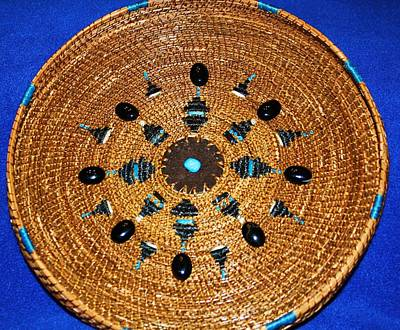 Pine Needle Baskets Sculpture - Embroidered Gem Stone Plate by Russell  Barton