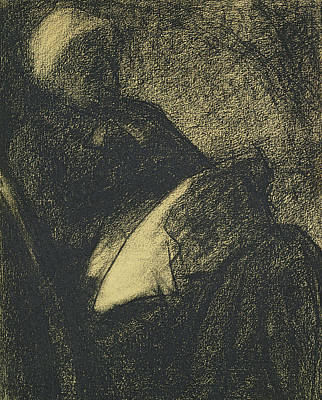 Impressionism Drawing - Embroiderer by Georges Pierre Seurat