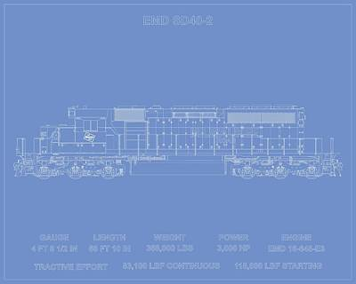 Abstract Graphics - EMD SD40-2 Milwaukee Road by Thomas Visintainer