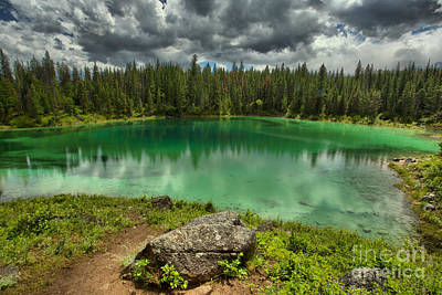 Photograph - Emeral Gren Waters Of The Jasper Five Lakes by Adam Jewell