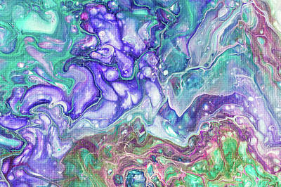 Photograph - Emerald And Amethyst Fragment 1. Abstract Fluid Acrylic Painting by Jenny Rainbow
