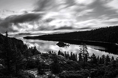 Print featuring the photograph Emerald Bay Black And White by Brad Scott