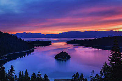 Island Lake Tahoe Photograph - Emerald Bay Clouds At Sunrise by Marc Crumpler