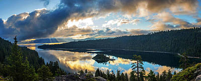 Print featuring the photograph Emerald Bay Sunrise Rays by Brad Scott
