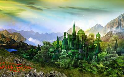 Fantasy Digital Art Royalty Free Images - Emerald City Royalty-Free Image by Karen Koski
