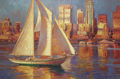 Seattle Painting - Elliot Bay by Steve Henderson