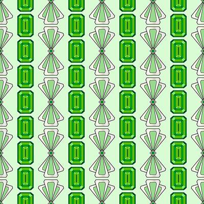 Digital Art - Emerald Deco Stripe by MM Anderson