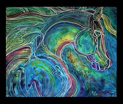 Fine Art Batik Painting - Emerald Eye Equine Abstract Batik by Marcia Baldwin
