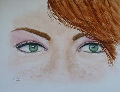 Painting - Emerald Eyes And Freckles by Kelly Mills