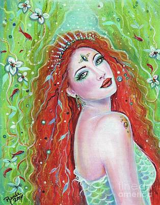 Emerald Fire Mermaid  Art Print by Renee Lavoie