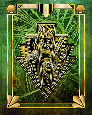 Digital Art - Emerald Green And Gold by Chuck Staley