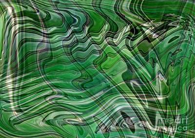 Emerald Green Waves Art Print by Carol Groenen