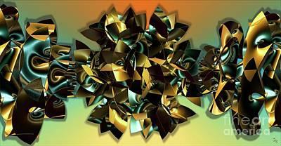 Digital Art - Emerald In Gold by Ron Bissett